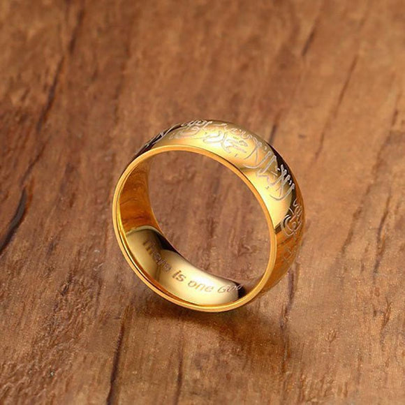 8mm Gold Stainless Steel Islamic Wedding Ring - Synonyco.com