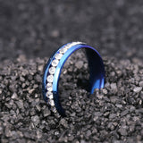 8mm Blue Stainless Steel Jeweled Fashion Ring - Synonyco.com