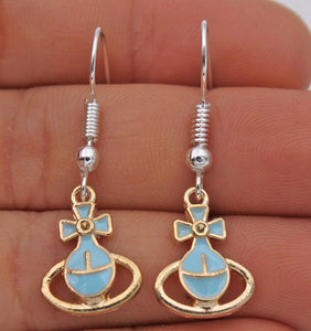 Bow-Knot Blue Saturn Earrings - Synonyco.com