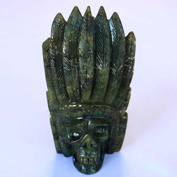 Labradorite Carved Skull With Headdress 200mm 1047g - Synonyco.com