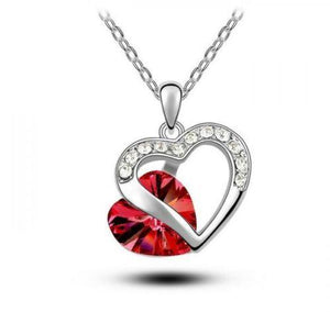 Jeweled Red Heart Fashion Necklace - Synonyco.com