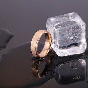 6mm Frosted Gold Stainless Steel Ring Size 11 - Synonyco.com