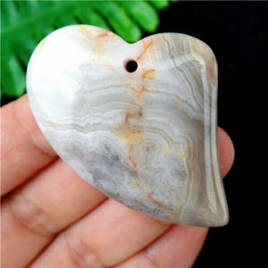 Agate Polished Stone Heart Pendant 38x35x7mm - Synonyco.com