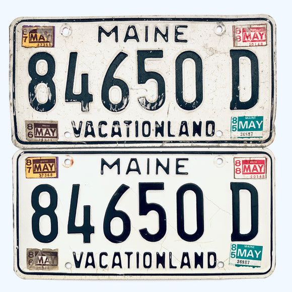 1988 Maine License Plate Pair 84650 D