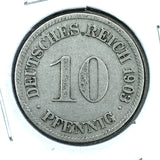 1903 D German Empire 10 Pfennig Coin