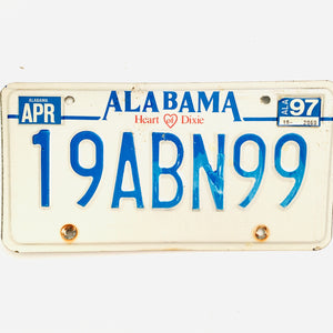 1997 Alabama License Plate 19ABN99
