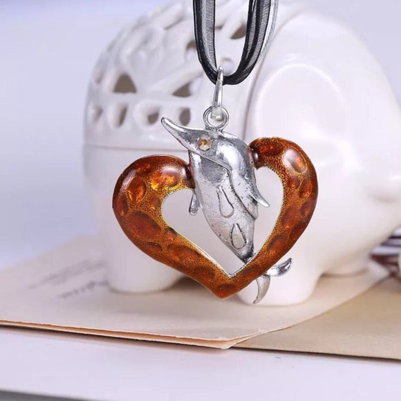 Dolphin Heart Necklace - Synonyco.com
