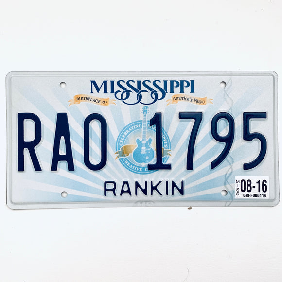 2016 Mississippi License Plate RA0 1795