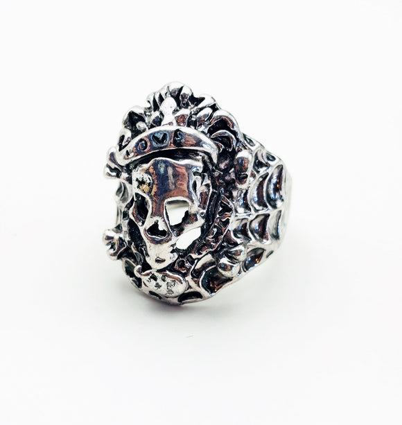Skull and Spiderweb Ring Size 10