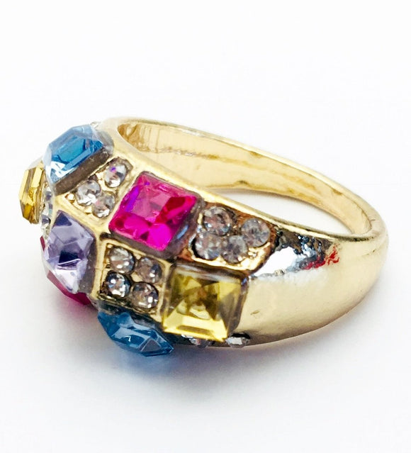 Multicolored Gemstone Fashion Ring Size 7 - Synonyco.com