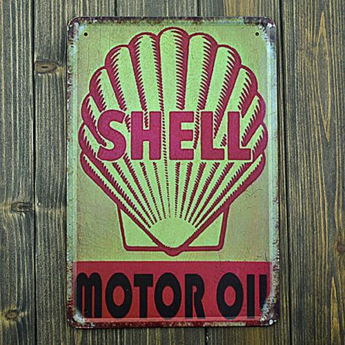 Shell Motor Oil Distressed Tin Metal Sign 8x12