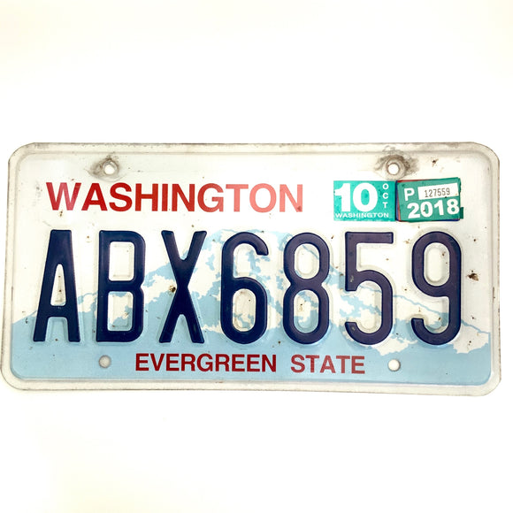 2018 Washington License Plate ABX6859