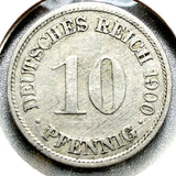 1900 F German Empire 10 Pfennig Coin - Synonyco.com
