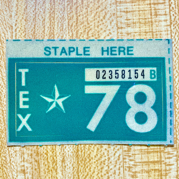 1978 Texas License Plate Renewal Sticker