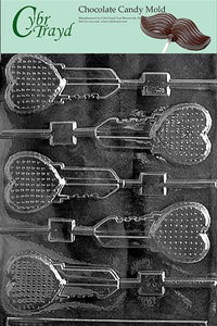 Cybrtrayd V079 Key Heart Lolly Valentine Chocolate Candy Mold