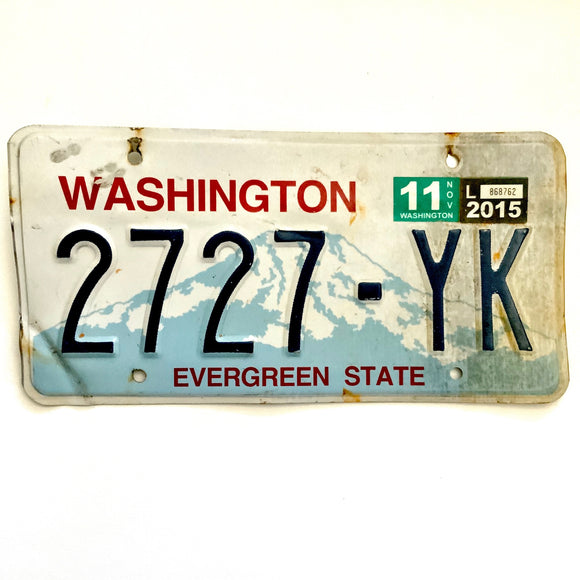 2015 Washington License Plate 2727-YK