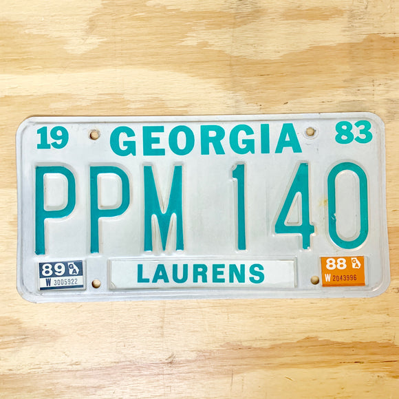 1989 Georgia Laurens County License Plate PPM 140 - Synonyco.com