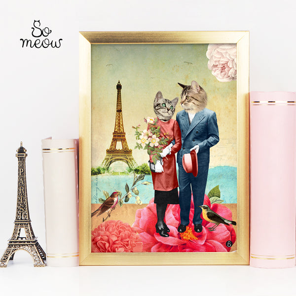 8X10- Affiche de chat Les amoureux - The Lovers cat print - So Meow