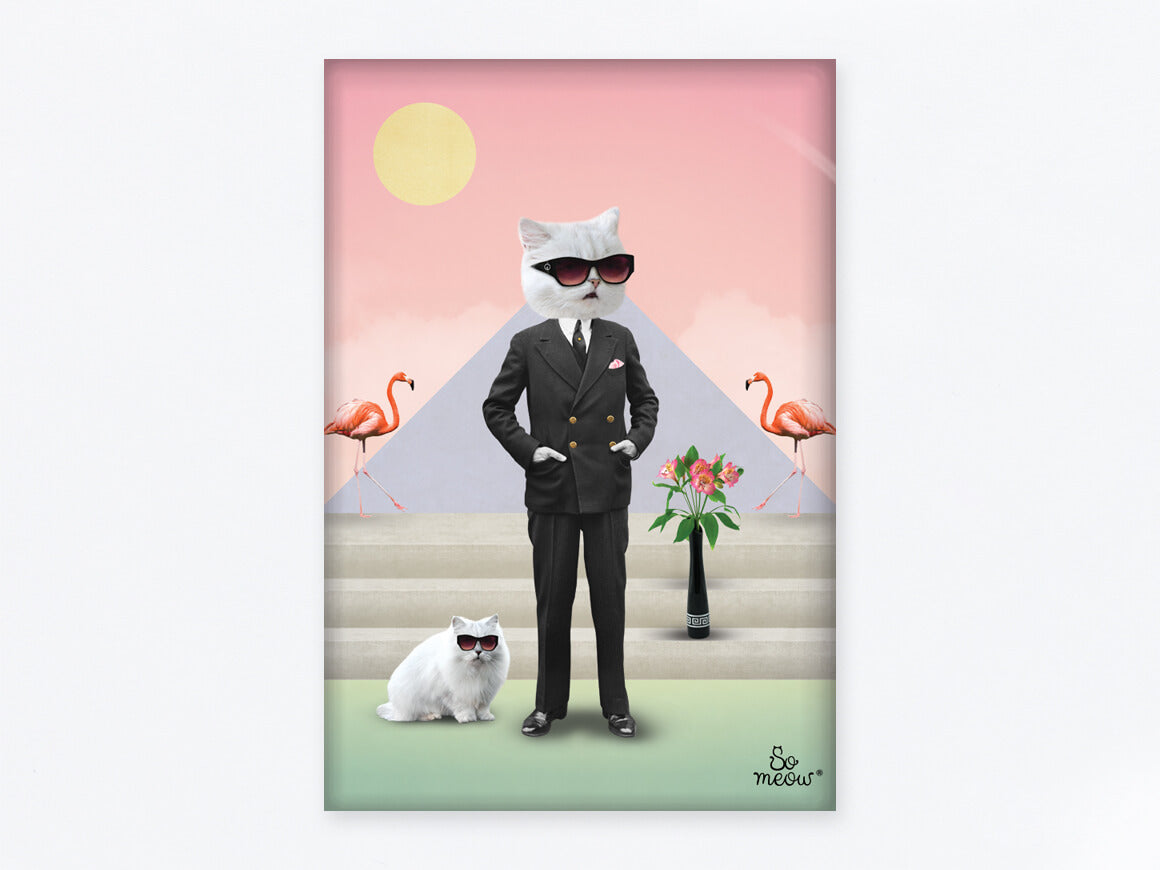 Aimant rectangle de chat en hommage à Karl Lagerfeld et Choupette