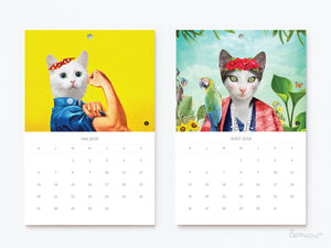 Calendrier 2018 de chats transformable en 12 cartes postales