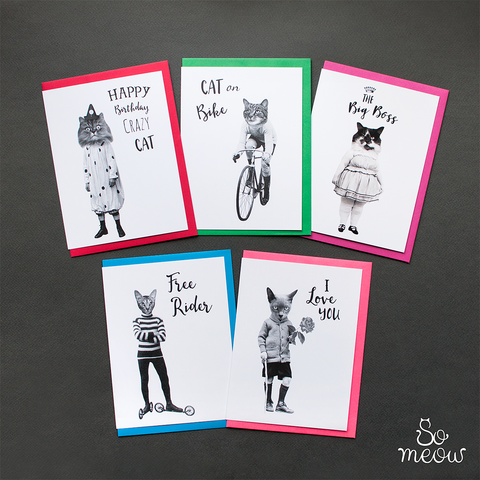 5 cartes de souhaits en noir en blanc et texte anglais  / 5 black and white english greeting cards - So Meow