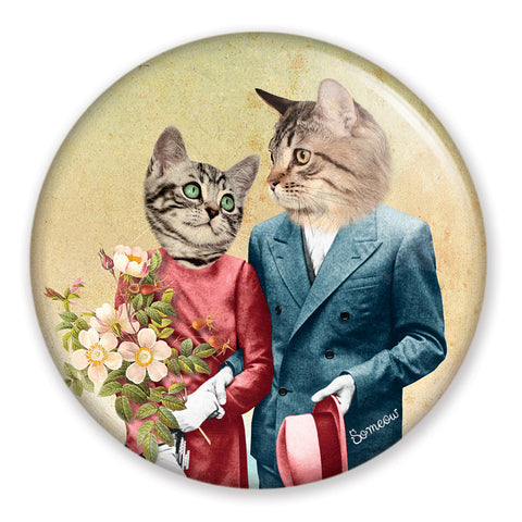 "Miroir de chat pour sac à main Les amoureux / The Lovers cat pocket mirror 2.25"" - So Meow"