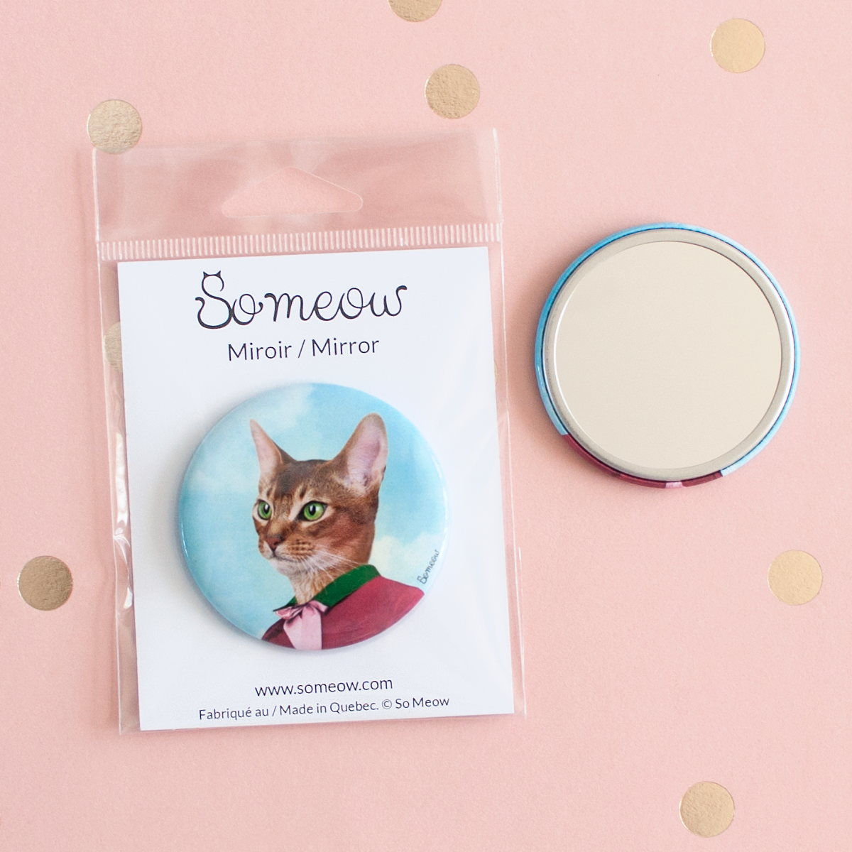 "Miroir de chat pour sac à main LE PRTIT PRINCE / Cat pocket mirror 2.25"" THE LITTLE PRINCE - So Meow"