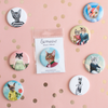 "Miroir de chat pour sac à main Mlle A. / Cat pocket mirror 2.25"" - So Meow"