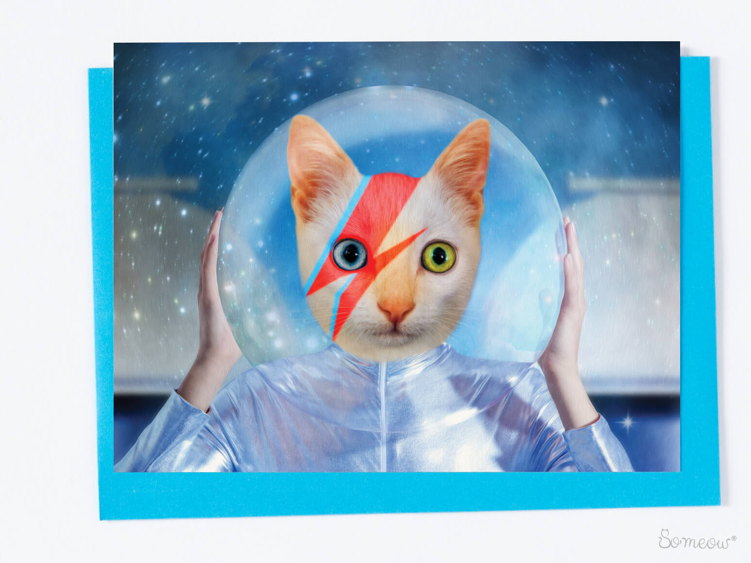 Carte de chat en hommage à David Bowie par So Meow