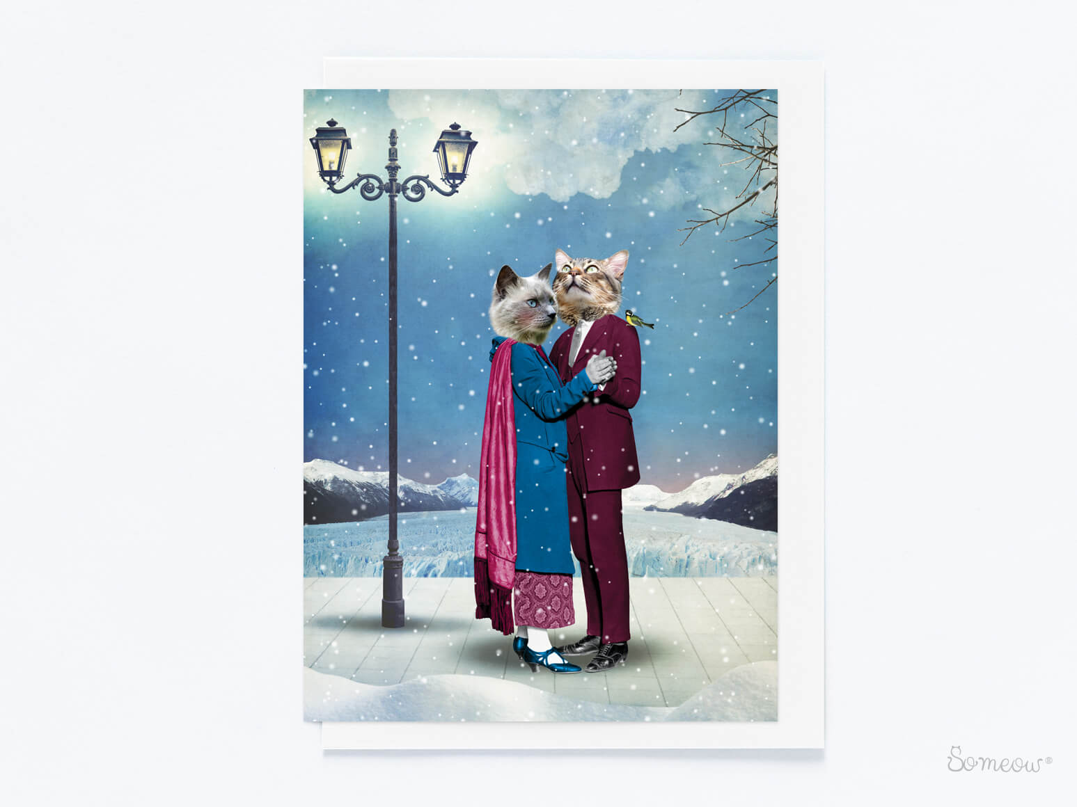 carte de chat de noël les valseurs par So Meow