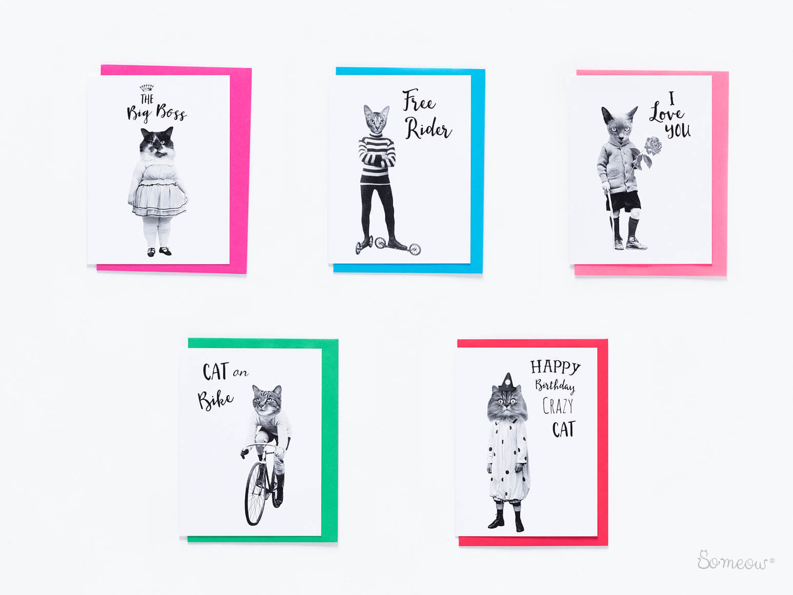 5 black and white funny greeting cards - So Meow