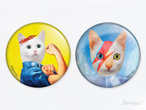 Duo You Can Do It Girl et David - Ensemble de 2 aimants de chats