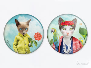 Duo Le petit chat à la rose et Frida Cathlo - Ensemble de 2 aimants de chats