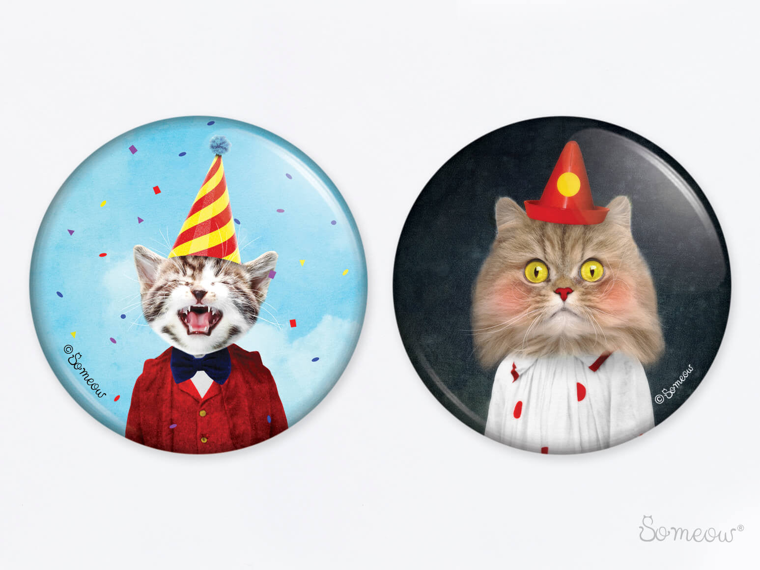 Duo Party et Le clown - Ensemble de 2 aimants de chats