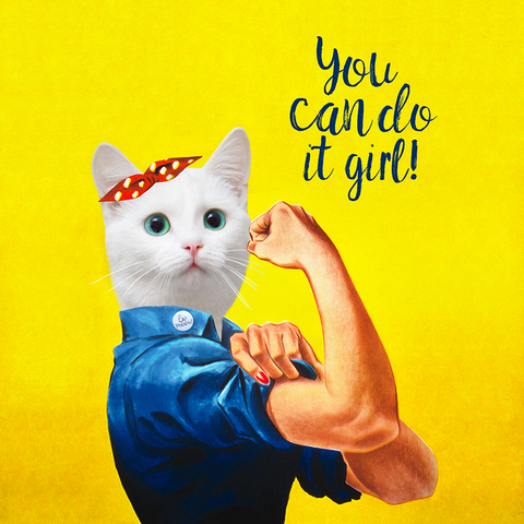 9.75 x 9.75- Affiche de chat You Can Do It Girl!