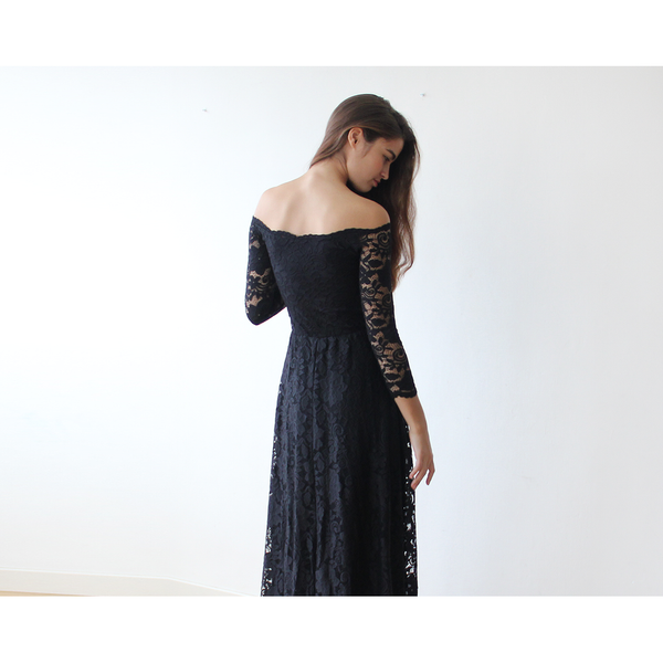 Off-The-Shoulder Black Floral Lace Long Sleeve Maxi Dress 1119