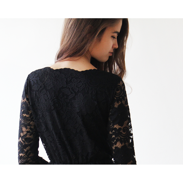 Lace Long Sleeve Black maxi dress