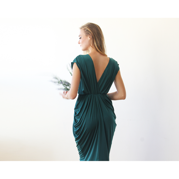 Emerald green midi bridesmaids dress 1007