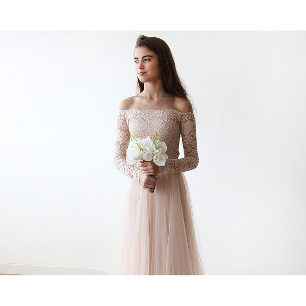 Blush Off-The-Shoulder Lace and Tulle maxi dress