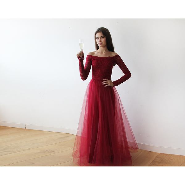 Off-The-Shoulder Burgundy Lace and Tulle maxi dress