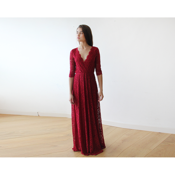 Lace Long Sleeve Bordeaux maxi dress