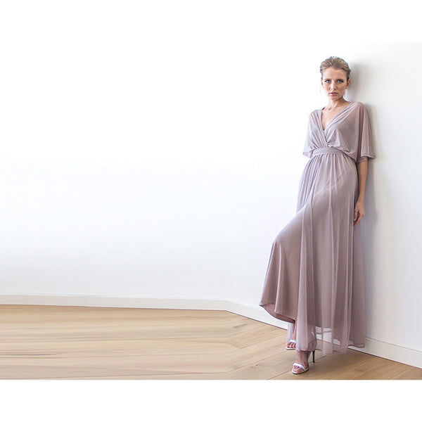 Taupe sheer chiffon maxi dress 1027