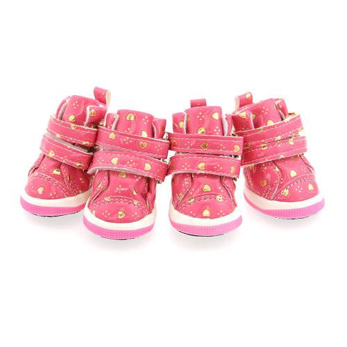 Hearts Dog Boots by Parisian Pet - Pink
