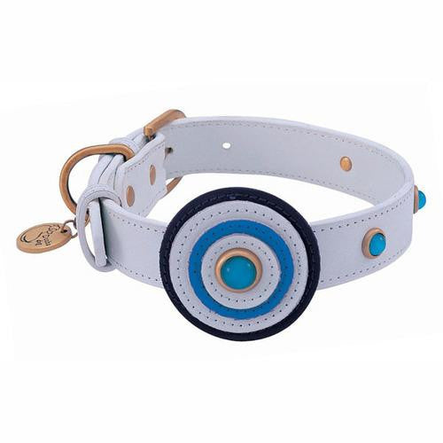 Circle Leather Dog Collar - White