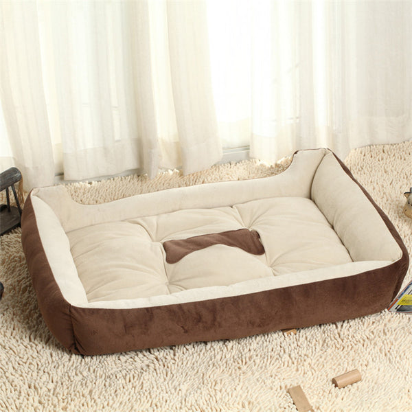 Large 100% Cotton Dog Bed With Bone Detail