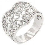 Cubic Zirconia Filigree Hearts Ring (size: 09) (pack of 1 ea)