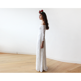 Ivory Off-The-Shoulder Floral Lace Long Sleeve Maxi Dress 1119