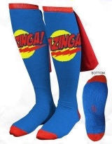 Big Bang Theory Bazinga Blue Caped Socks