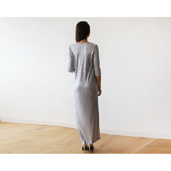 Glamorous Silver Long Sleeve Pleated Maxi Dress 1123