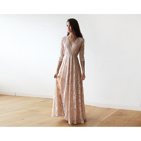 Lace Long Sleeve Blush-Pink maxi dress